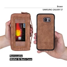 New Removable Vintage Leather Ultimate Wallet Phone Case In Pink Black Red Tan For Samsung Galaxy S7,S7 Edge Cover Card Package
