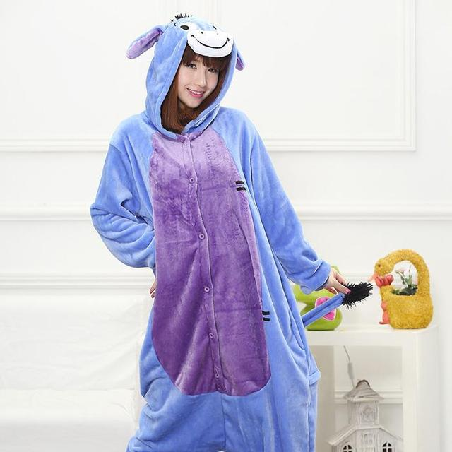 Christmas Party HKSNG Good Quality Women Adult Winter Eeyore Kigurumi  Pajamas Onesies Blue Donkey Cosplay c60c680164ef8