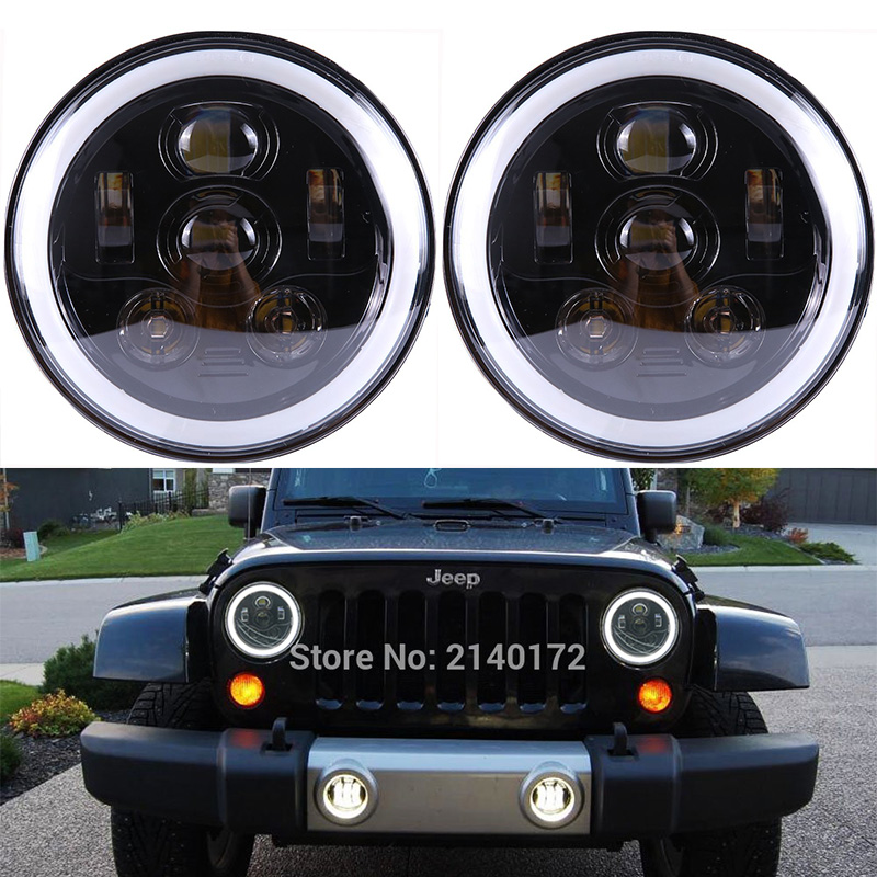 7inch High/Low Dual beam halo headlight with DRL Angel eyes for Jeep Wrangler JK LandRover Defender hummer headlamp 7inch round front light beam 40w led driving light headlight with angel eyes for jeep wrangler jk hummer