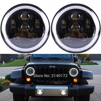 7inch High/Low Dual beam halo headlight with DRL Angel eyes for Jeep Wrangler JK LandRover Defender hummer headlamp