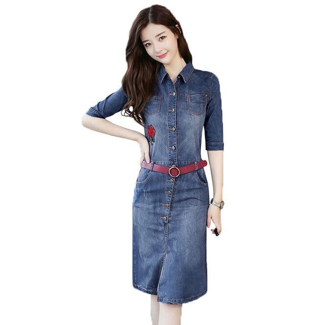 13d9901513 2018 Spring Denim Dress Women Blue Jean Dresses With Belt Half Sleeve Mid-Calf  Slim Vestidos Mujer Summer Casual Femme Robe W173