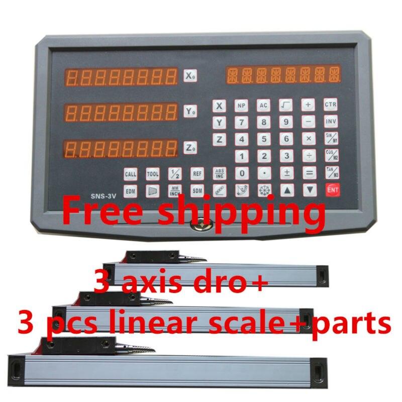 Meilleur prix 3 axes de Lecture Numérique avec 3 échelle linéaire voyage 150-1020mm pour fraisage tour machine dro affichage unité complète