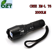 E17 CREE XM-L T6 2000Lumens cree led Torch Zoomable cree LED Flashlight Torch light For 3xAAA or 1x18650