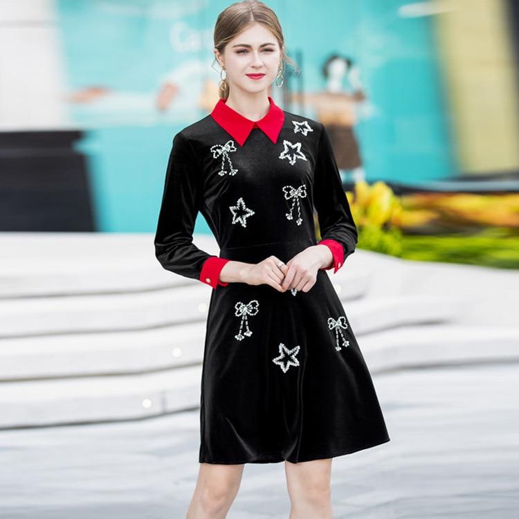 Robe Couleur Taille De Noir Contraste Paillettes Lourd Longues Revers Arc Étoiles Tête À Mince Manches Mode Perles Tempérament Grande 1xwwBpqga