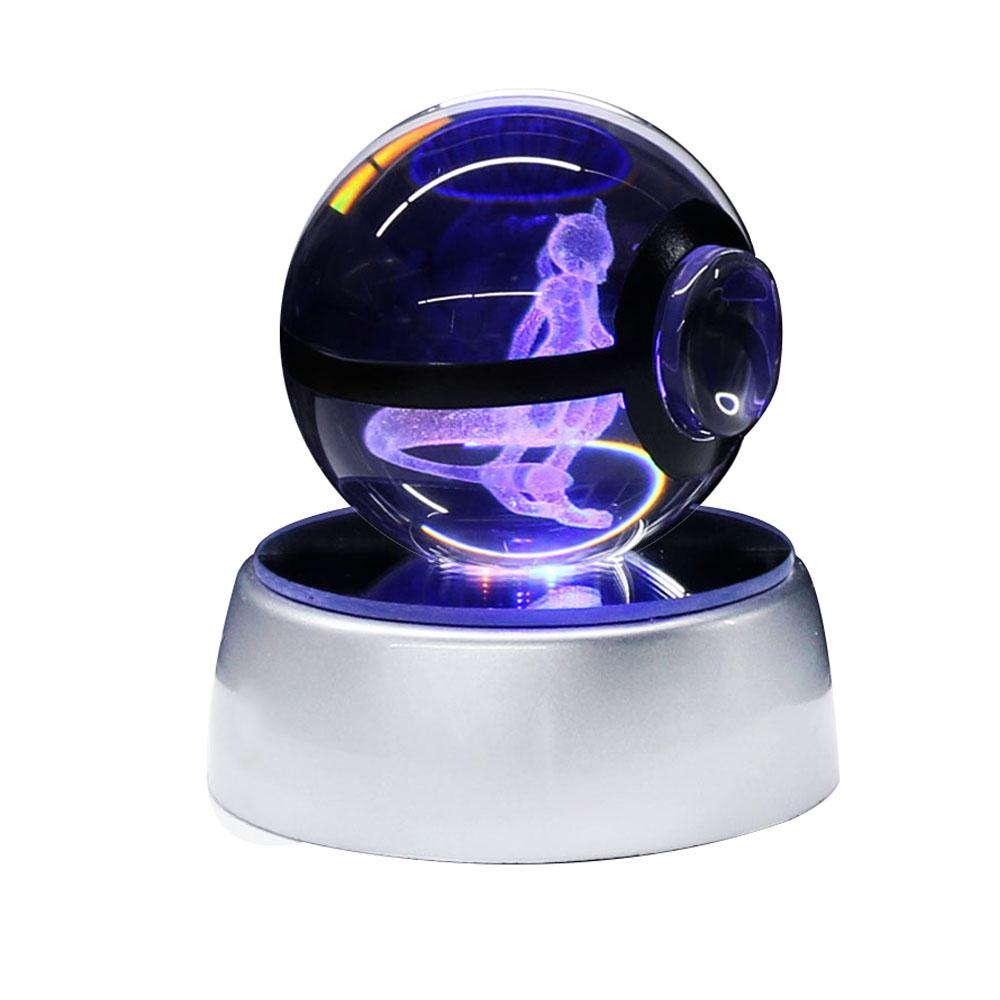 Mewtwo Pokemon Crystal Ball 3D LED Night Light Table Lamp USB Xmas Birthday Gift