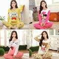 Nuevos Productos Especiales 2017 Primavera Otoño Pijama de Manga Larga Mujer Niña Juego del Desgaste de Las Mujeres Pijamas de Algodón Puro Dulce Hogar