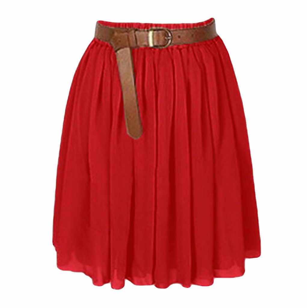 Kadın Etek Etekler faldas jupe femme shein saia Kadın Mini Etek Kız Şifon Kısa Elbise Pilili Retro Elastik Bel #50