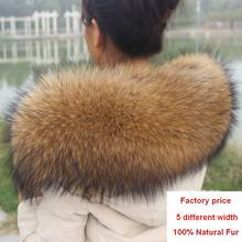 Musim dingin 100% Asli Real Natural Raccoon Fur Collar Wanita Scarf Fashion Coat Sweater Syal Mewah Raccoon Fur Neck Cap R1