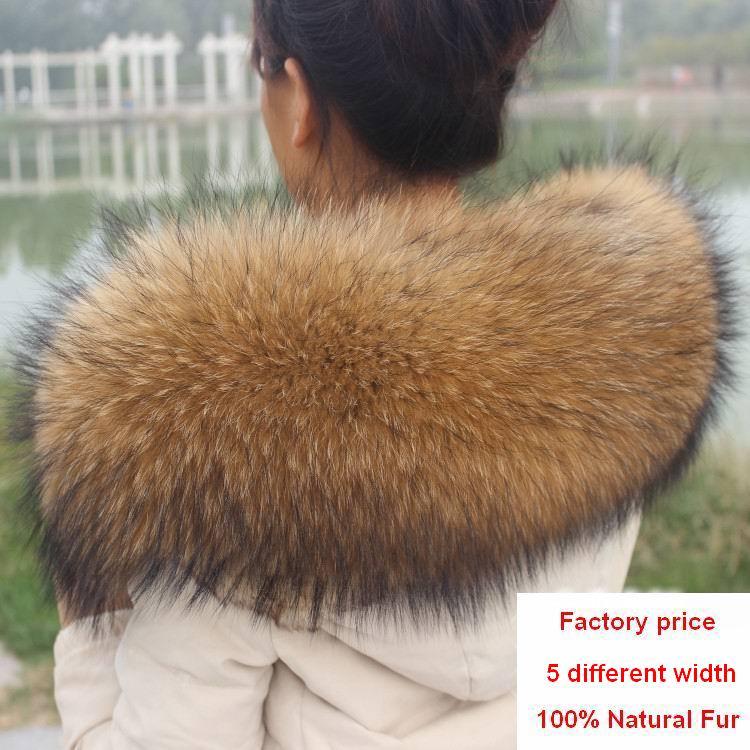 Winter 100% Genuine Real Natural Raccoon Fur Collar