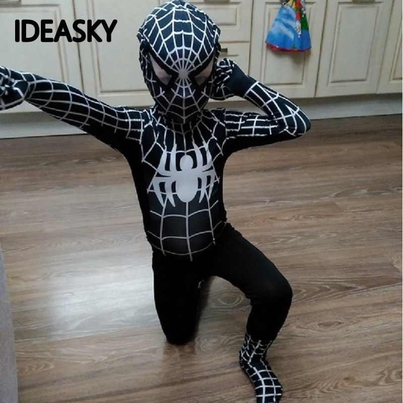 High Quality Spider Man Spiderman Costume Fancy Dress Adult And Children Halloween Costume Red Black Spandex 3D Cosplay Clothing