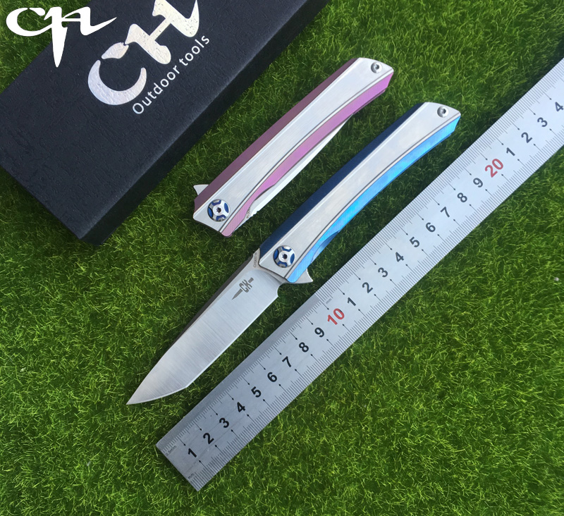 CH3002 original design Flipper folding knife S35VN Blade ball bearings TC4 Titanium handle camping fruit pocket knives EDC tools y shot 3002