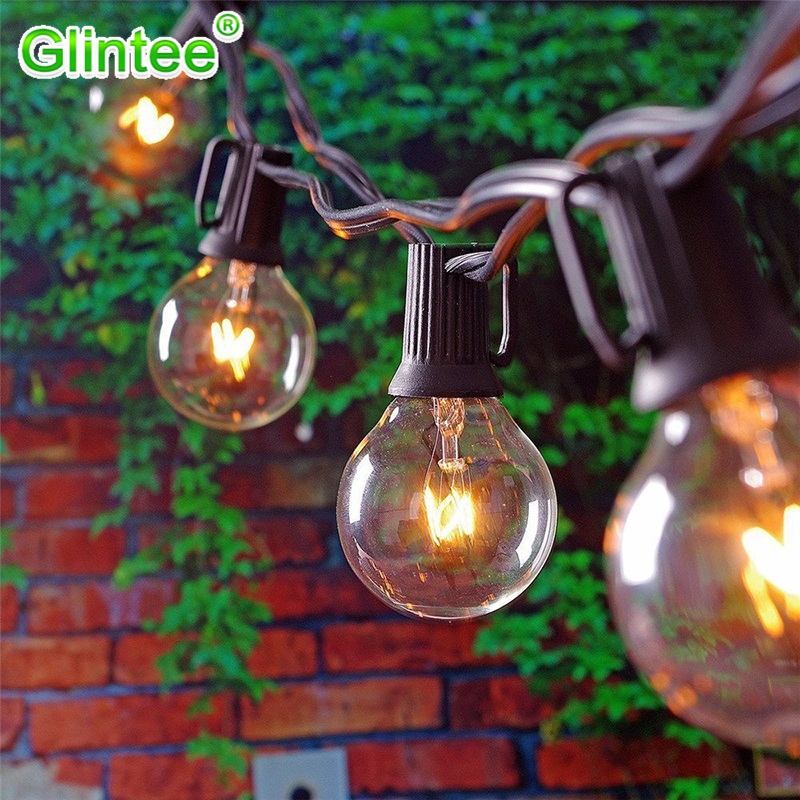 LED Bulbs String Lights G40 Globe 20leds EU US Plug Vintage Indoor Outdoor Lightings Warm White Bright Lamps Decoration Cozy New dimmable led warm white string lights indoor outdoor use connectable 48 length with 15 led bulbs for porch patio free shipping