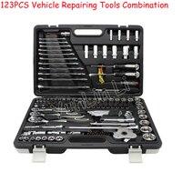 123 шт. ручные инструменты Professional ремонт автомобиля набор инструментов гаечный ключ Храповые гаечные ключи розетки механик наборы инструмен