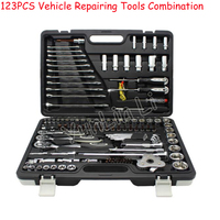 123Pcs Hand Tools Professional Car Repair Tool Set Spanner Ratchet Wrenches Sockets Mechanic Tool Kits Multifunction Vehicle