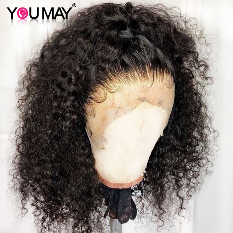 Kinky Curly Wig 360 Lace Frontal Wigs Pre Plucked Fake Scalp 13X6 Brazilian Lace Front Human Hair Wigs For Women You May Remy