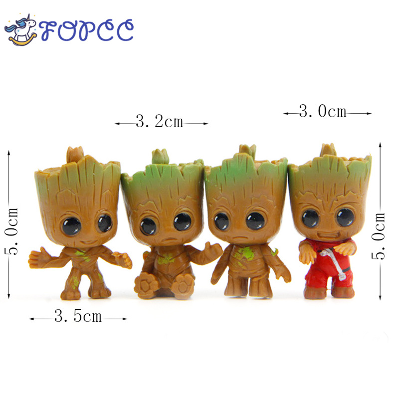 4PCS Anime Guardians van de Galaxy Q versie boom man Action figure PVC Ornamenten Speelgoed Kerst Kind Geschenken Tree man Toys