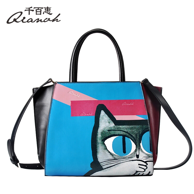 Woman Bags Handbag Genuine Leather Bag QIANBH Brand Cartoon Cat Pattern  Shoulder Women s Bags Fashion Totes Messenger Bags-in Top-Handle Bags from  Luggage ... 3016f507c3685