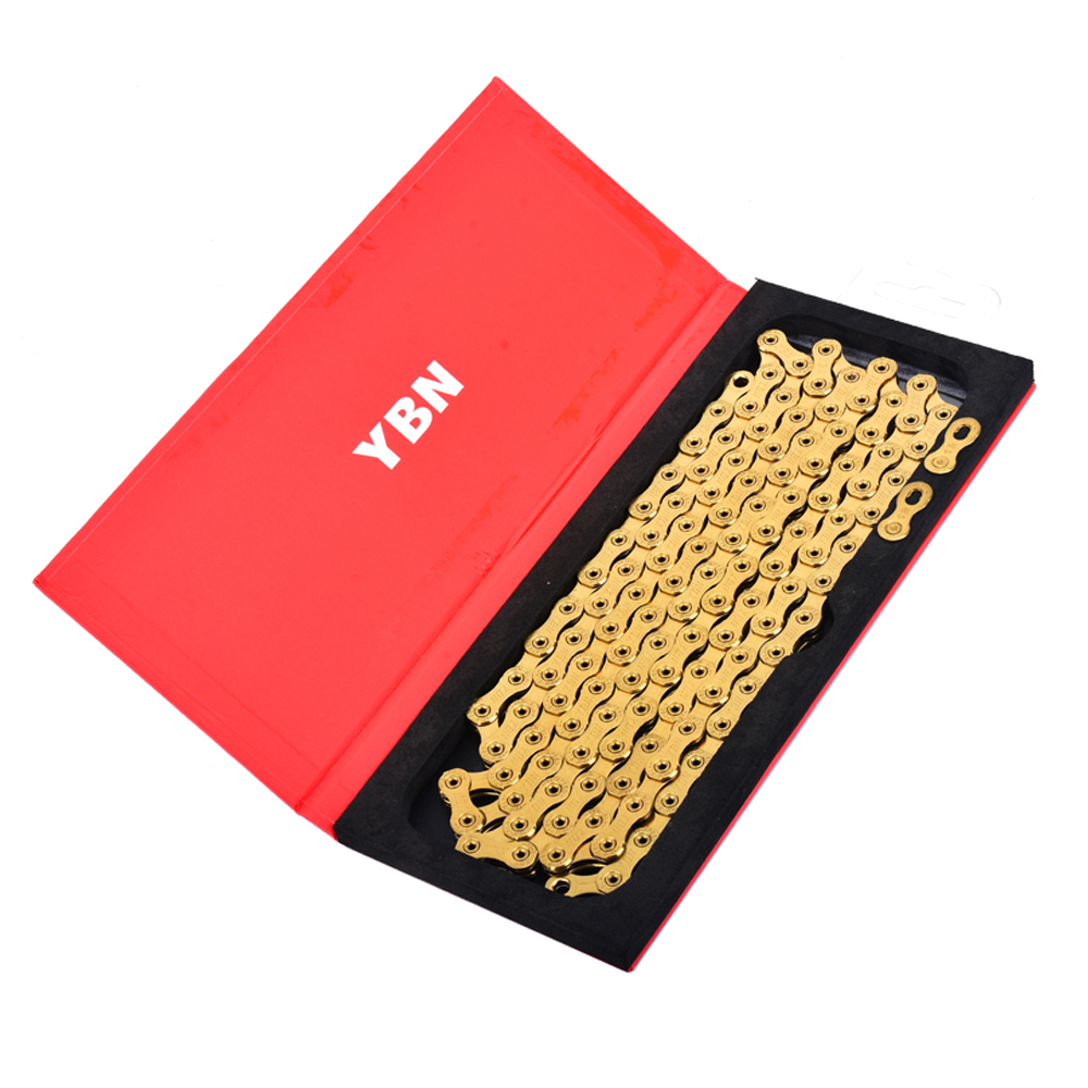 High quality Ti Titanium Gold Bike Chain 12 Speed 126 Links with magic link button compatible