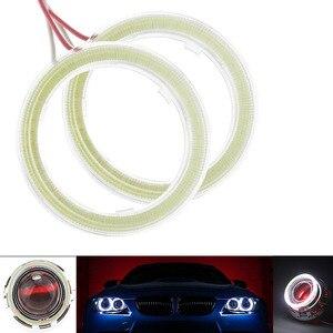 2 sztuk COB 60mm 80mm 120mm 12V DC światła samochodowe LED Auto anioł anielskie oczy z pokrywą Halo pierścienie 70mm 90mm 100mm 110mm