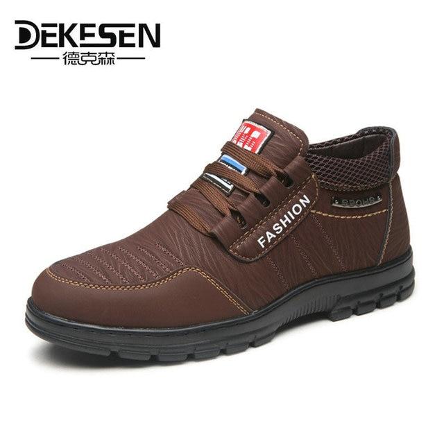 Dekesen Мужские ботинки с Мех Теплые зимние сапоги 2017 года Для мужчин зимние рабочие Обувь обувь модные мужские Резиновая Ботильоны Для мужчин s повседневная обувь