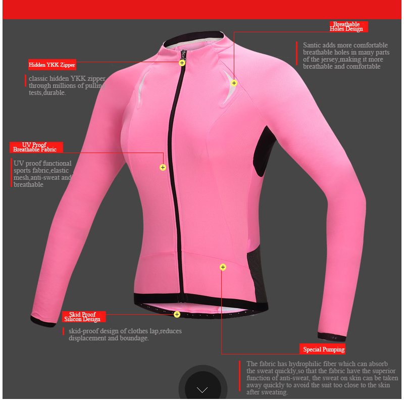 Santic Women Long Sleeve Cycling Jersey PRO Mountain Road Bike Jersey Anti  UV Breathable Bicycle DH Jersey Maillot Ciclismo -in Cycling Jerseys from  Sports ... be5ef395b