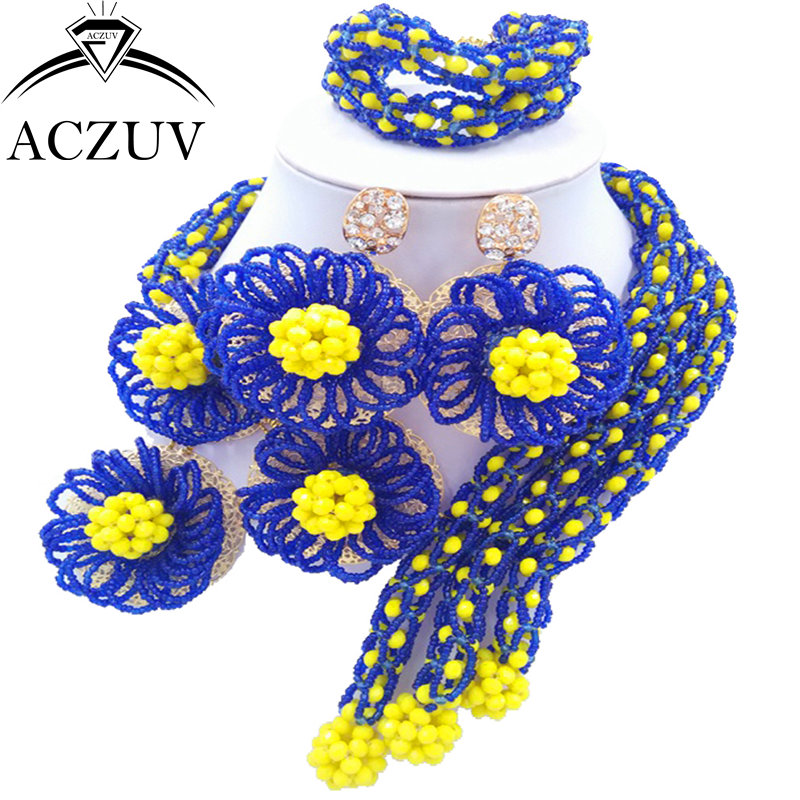 ACZUV Latest Women African Beads Jewelry Set Royal Blue and Yellow Nigerian Necklace and Earrings for Brides C3F015 chic rhinestone african plate shape pendant necklace and earrings for women