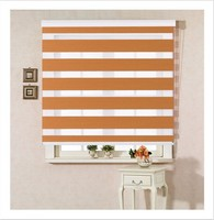 Horizontal Window Shade Blind Zebra Dual Roller Blinds & Treatments Window Custom Cut to Size in Orange Curtains for Living Room