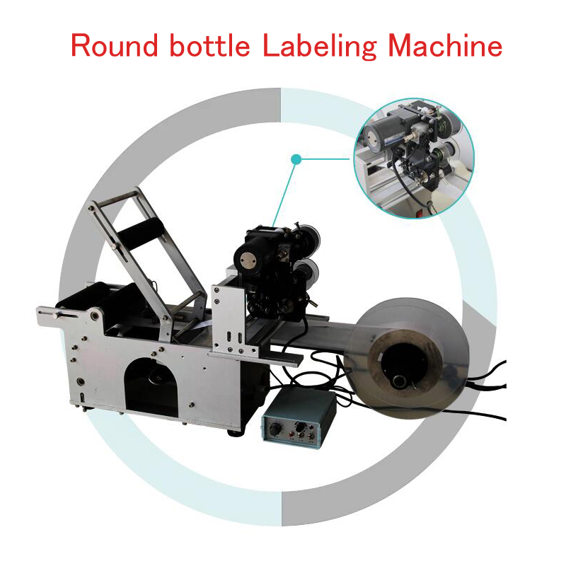 Round bottle labeling machine Ribbon date marking machine round bottle sticker machine high speed round bottle beer bottle labeling machine with label marking machine date code printer