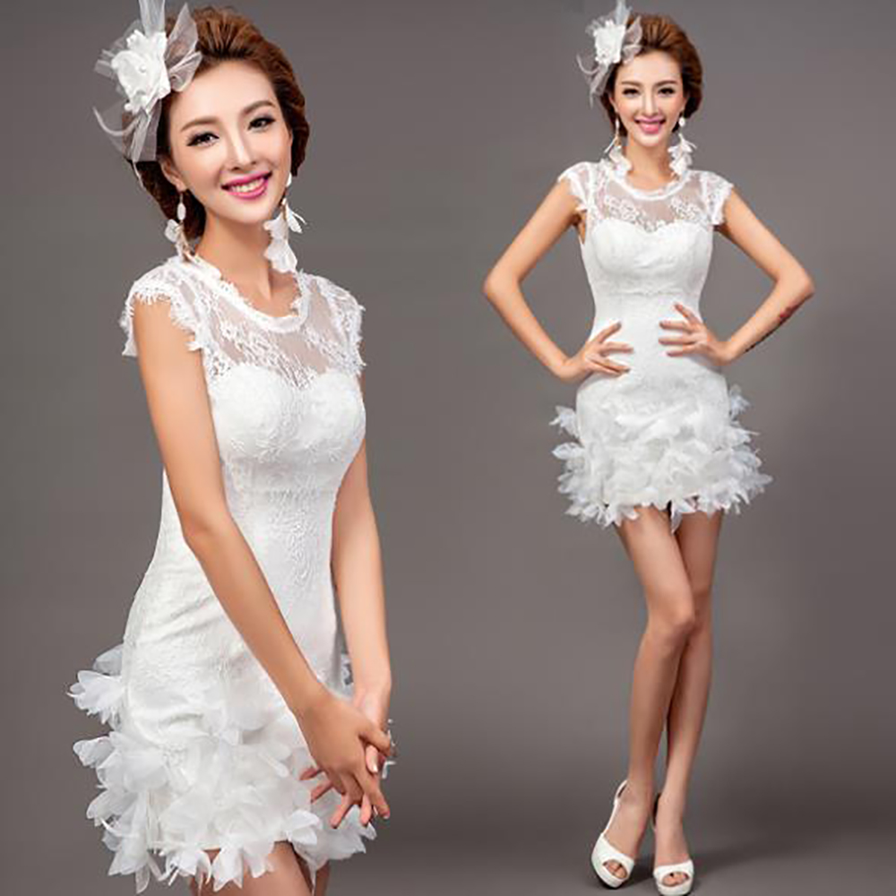 Fashion Women White Short Wedding Dress 2016 Sheath Lace