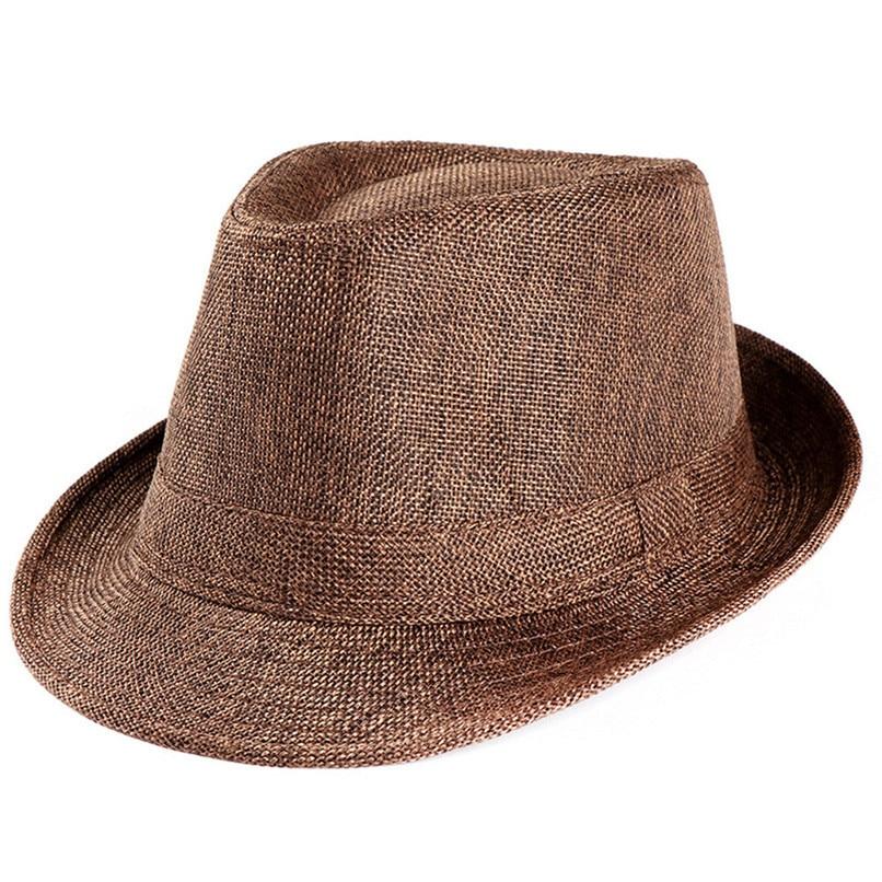 ... Fedoras Hombre Unisex Trilby Gangster Cap Beach Sun Straw Hat Band  Sunhat Beach Hats Women Summer 3bb719274481