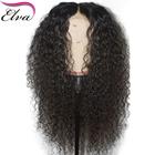 """Curly 360 Lace Frontal Wig 180% Density Brazilian Human Hair Wigs With Baby Hair Elva Remy Hair Wig Pre Plucked Hairline 10""""-22"""""""