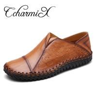 CcharmiX Mens New Designer Split Leather Shoes 2017 Arrival Style Fashion Loafers Mens Striped Pattern Flats