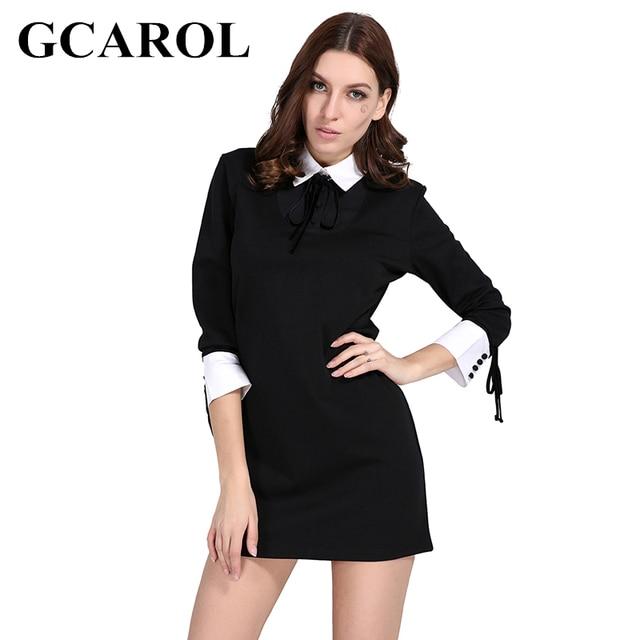a4681fc3c GCAROL Early Spring Women Peter Pan Collar Dress Bind Cuff Design ...
