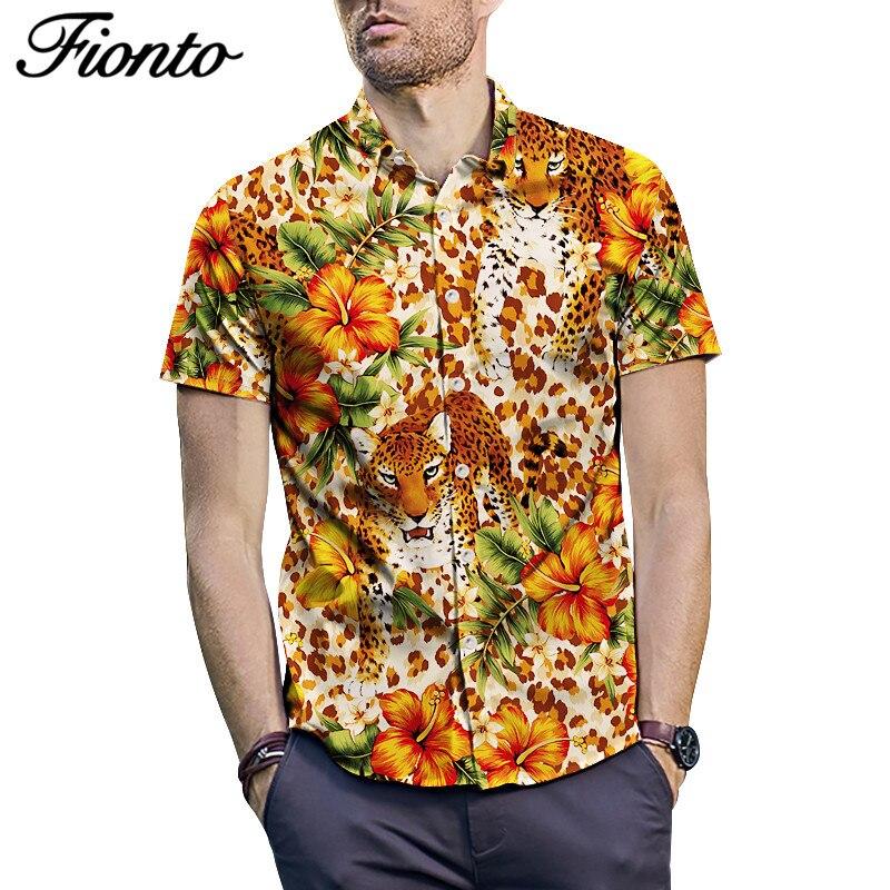 Mens Fashion Summer Printed Short Sleeve Shirt Youth Casual Loose Shirt Tops