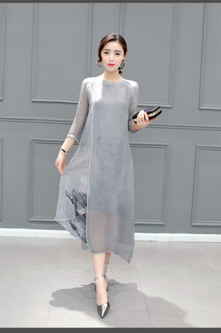 SALE - Cotton Linen Long Irregular Folk Art Ink Print Dress 5