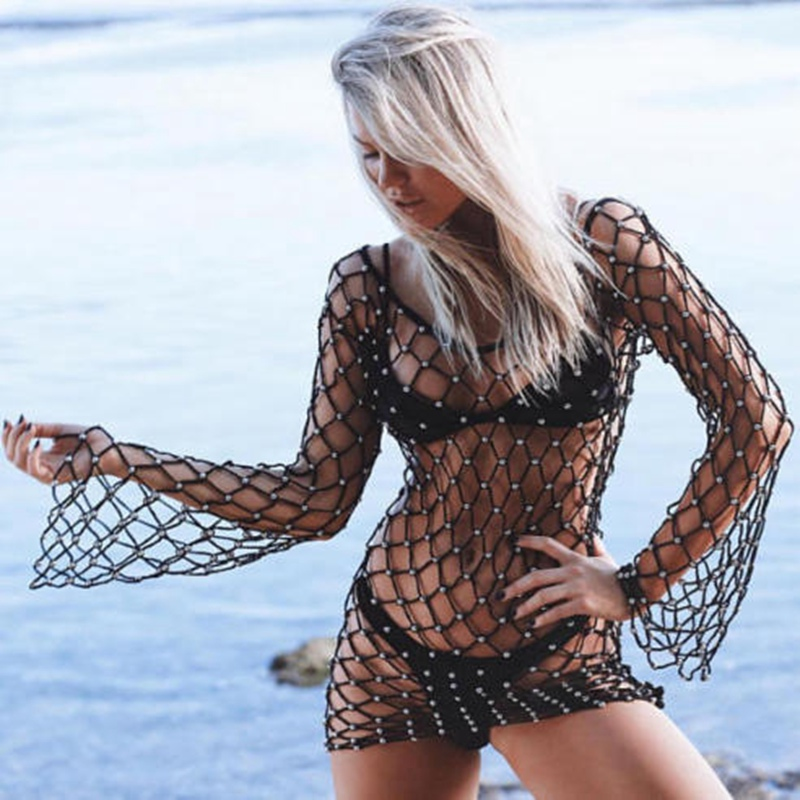 2018 Women's Mesh Pearl Bikini Cover Up  Bathing Pearl Slash Neck Fishnet Sexy Summer Beach Swimwear Cover-Ups