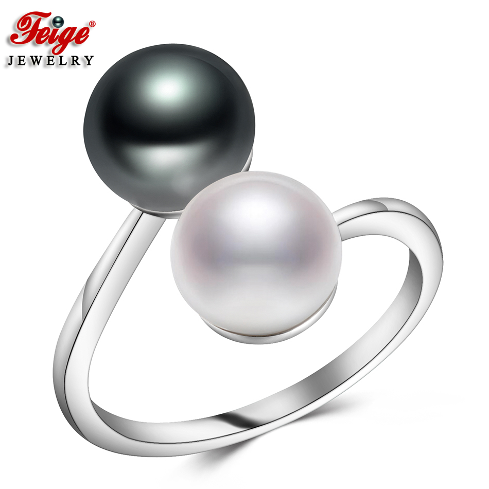 Trendy Design Women Rings 925 Silver Party Gifts Two Colors 8-9MM Freshwater Pearl Gemstone Rings Fine Jewelry Dropshipping