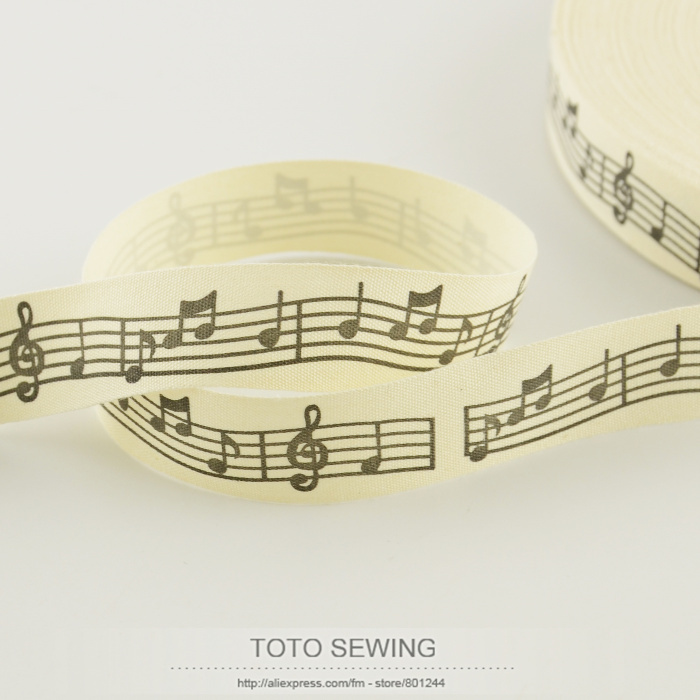 2.5CM width Zakka cotton ribbons mini.order is $5(mix order)cloths sewing tape music note label TOTO sewing accessory clothes
