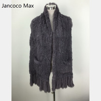 Jancoco Max S1608 Thick Knitted Real Rabbit Fur Scarf Women Winter New Fashion Shawl with Pockets Wholesale / Retail