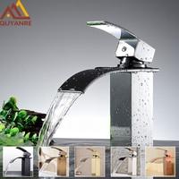 Quyanre Chrome Waterfall Basin Sink Faucet Antique Brass Waterfall Basin Mixer Single Handle Mixer Tap Bathroom Waterfall Crane