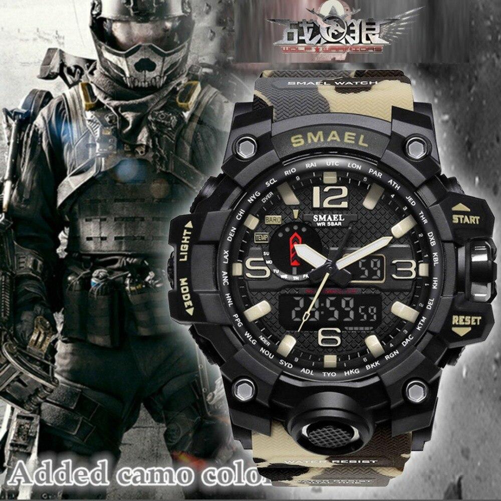 Haut De Luxe Marque SMAEL Hommes Sport Montres Hommes de Camouflage Kaki Horloge À Quartz Homme Militaire de L'armée Montre-Bracelet Relogio Masculino