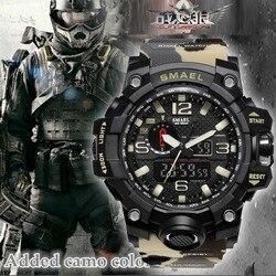 Top luksusowa marka SMAEL mężczyźni zegarki sportowe męska kamuflaż Khaki zegar kwarcowy człowiek armia wojskowy zegarek na rękę Relogio Masculino w Zegarki sportowe od Zegarki na
