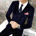 Hombre Traje de Moda Blazers 2016 Winter Dress Slim Fit Para Hombre de Impresión trajes Blazer Casual Masculino Trajes de Baile Moderno Para El Club de Los Hombres 2017