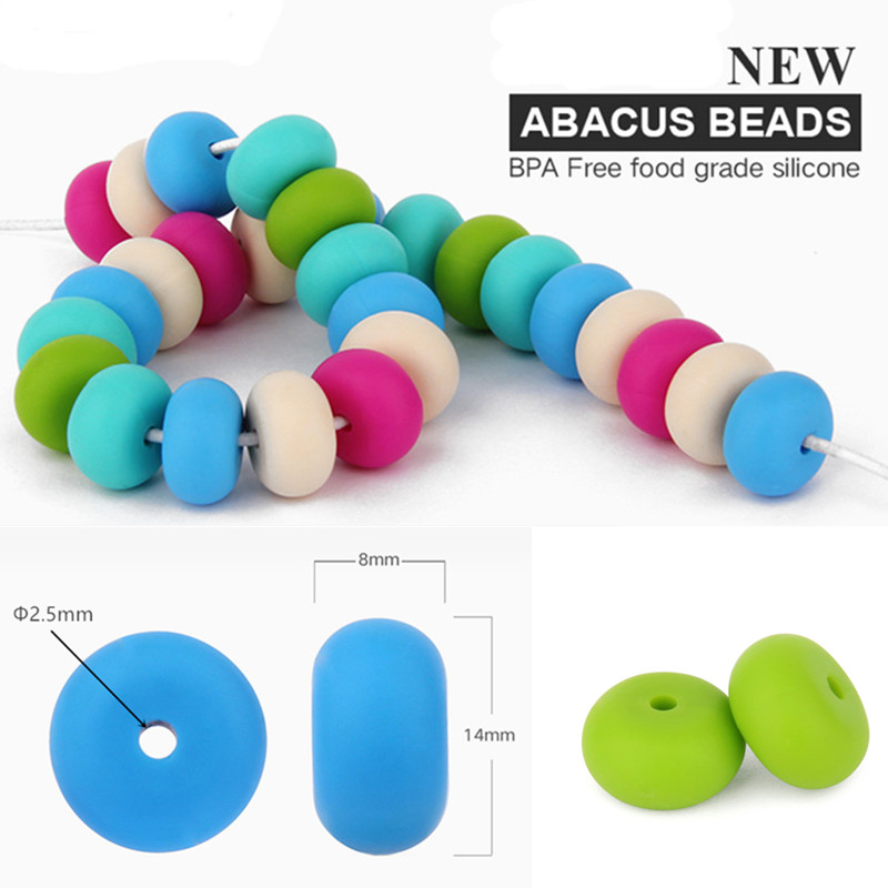 chengkai 50pcs 14*8mm BPA Free Silicone Lentil Teether Beads DIY Baby Pacifier Abacus Chewing Jewelry Sensory Necklace Toy Bead