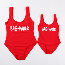 2019 New Swimsuit Mum and Me Children One Piece Monokini Pretty Letter Print Red for Girl Women Swimwear