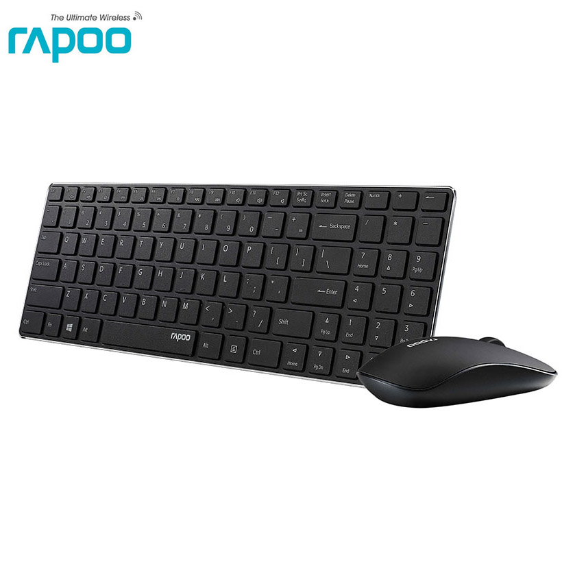 Rapoo 9300P 4.9mm Ultra Slim Portable Mute Wireless Keyboard And Mouse Combo , Russian Buyer With Free Russian Keyboard Sticker.