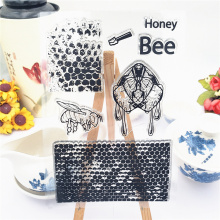 Honeycomb Honey Bee Stamp Transparent Clear Stamps Silicone Seal for DIY Scrapbooking Card Making Photo Album Decoration Crafts