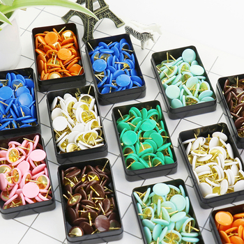 TUTU 50pcs/set Colorful Metal Push Pins Paper Map Cork Board Capped Headed Fixing Thumb Tacks Pin Office School Supplies H0008 1