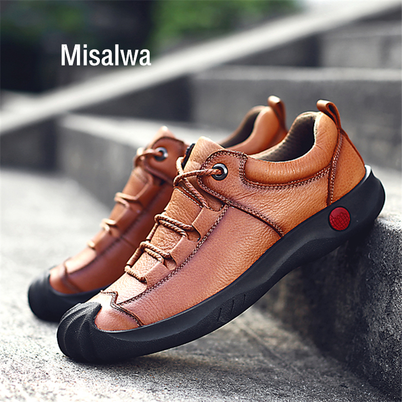 Misalwa Men s Casual Penny Loafers Breathable Lace up Handmade Flats Dress Shoes Closed Toe Anti