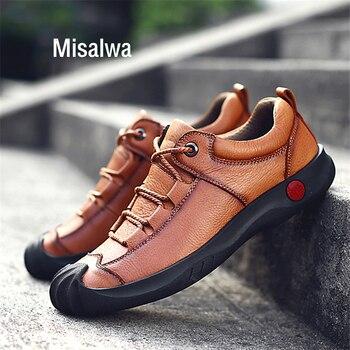 4fdf04b825b Misalwa casuales de los hombres mocasines transpirables de encaje-hecho a  mano zapatos planos Zapatos de vestir Zapatos de dedo del pie cerrado ...
